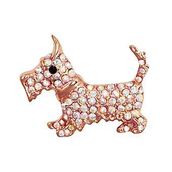 Ewige Sammlung Hamish Scottie Aurora Borealis Crystal Rose Gold Ton Hund Brosche