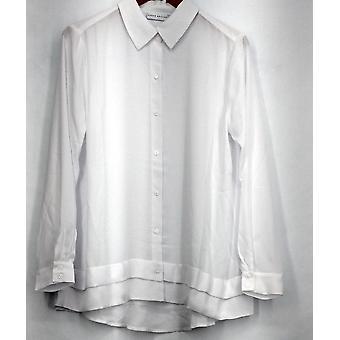 Susan Graver Top Feder Weben Langarm Knopf vorne Shirt weiß A273451
