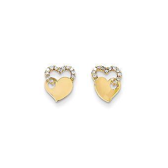 14 k Gelbgold poliert CZ Zirkonia simuliert Diamant Doppel Liebe Herz Post Ohrringe Schmuck Geschenke für Frauen