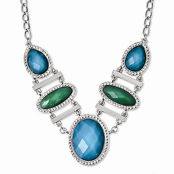 Laundry Silver tone Fancy Lobster Closure Blue and Green Resin Stones 16in With Ext Necklace Jewelry Gifts for Women