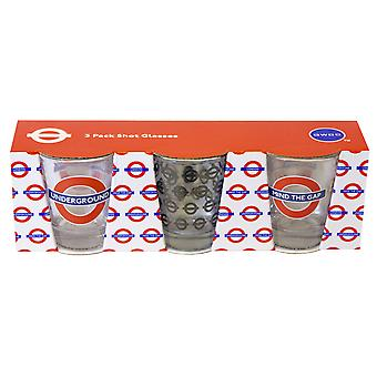 Licensed tfl underground, mind the gap, set of 3 shot glasses