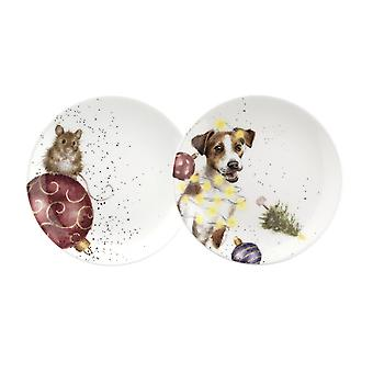 Wrendale Designs Coupe Plates Set of 2, Mouse and Dog