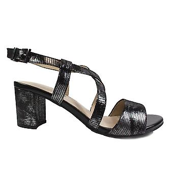 Caprice 28300 Black Reptile Leather Womens Heeled Strapy Sandals