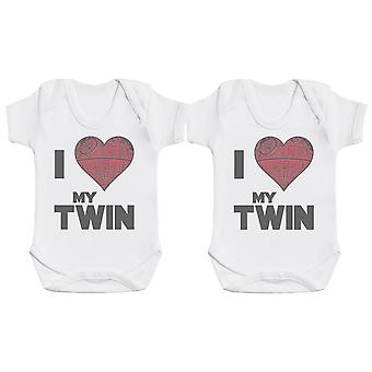 I Love My Twin Star Heart, Baby Gift, Baby Boy Gift, Baby Girl Gift, Baby Boy Bodysuit, Baby Girl Bodysuit