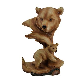 Carved Wood Look Mother Bear and Cub Tabletop Statue