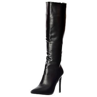 Onlineshoe Stiletto talón puntiagudo rodilla botas altas