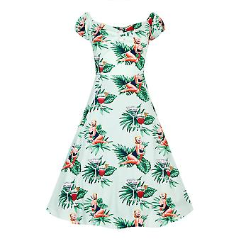 Collectif Vintage Women's Lori Tropical Pin-Up Girl Dolores Doll Swing Dress