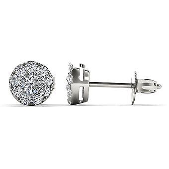 Boucles d'oreilles Igi certifiés authentiques 925 argent sterling 0,50 ct diamant stud