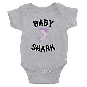 Papa mama baby Shark familie bijpassende outfits baby grijs Romper