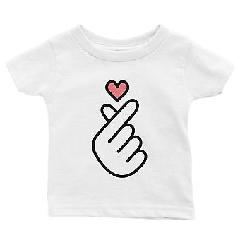 365 Printing Finger Heart Baby Graphic T-Shirt Gift White Baby Girl  Baby Shower