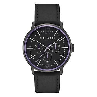 Тед Бейкер Джейсон Грей Dial Черный кожаный ремешок Мужские часы TE15066007