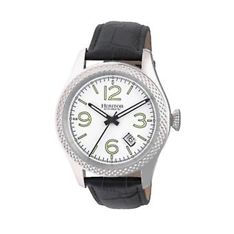 Heritor Automatic Barnes Leather-Band Watch w/Date - Silver