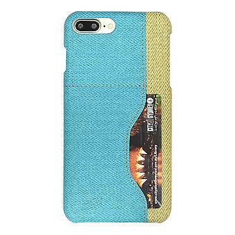 iPhone 8 PLUS,7 PLUS tapauksessa, tyylikäs kudottu kuvio kestävä nahkakansi, sininen