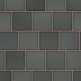 Tiling em um roll glass tile carvão de parede de papel de parede / Rose Gold Holden 89353