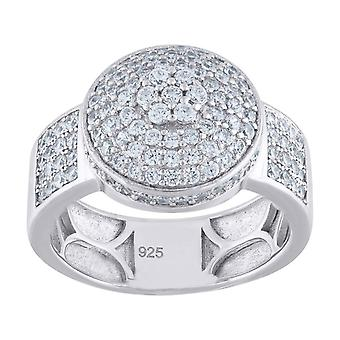 925 Sterling Silver Mens CZ Cubic Zirconia Simulated Diamond Round Head Cluster Band Ring Jewelry Gifts for Men - Ring S