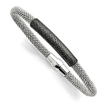 6mm 925 Sterling Silver Ruthenium plated Mesh Bracelet 7.5 Inch Jewelry Gifts for Women - 13.7 Grams