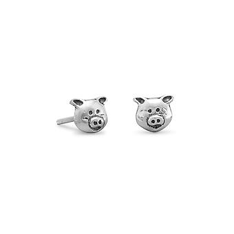 925 Sterling Silver Piggy Face Stud Earrings 6mmx5mm Jewelry Gifts for Women