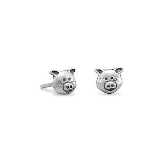 925 Sterling Silver Piggy Face Stud Oorbellen 6mmx5mm sieraden cadeaus voor vrouwen