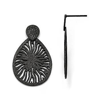 rustfritt stål polert laser kuttet svart ip belagt post lang dråpe dingle øredobber smykker gaver til kvinner