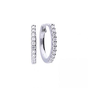 Diamonfire Silver & White Zirconia Claw Set Classic Creole Hoop Earrings