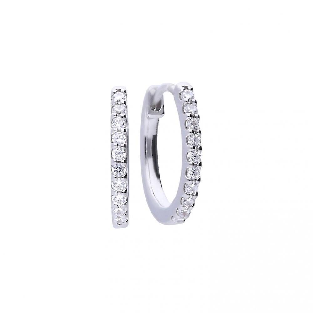 Diamonfire Silver & White Zirconia Claw Set Classic Creole Hoop Earrings