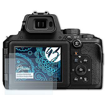 Bruni 2x Película Protectora compatible con Nikon Coolpix P950 Lámina Protectora