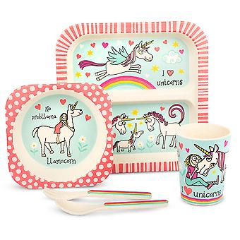 Tyrrell Katz Unicorns Design 5pc Bamboo Dinner Set For Children
