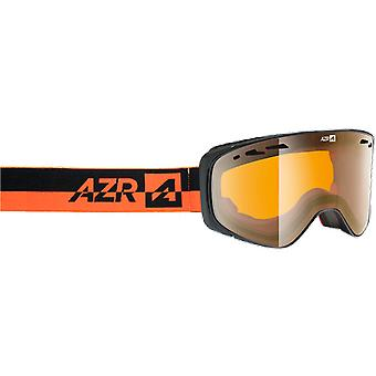 AZR Ski Mask Cyber OTG Black Mat Orange Mirror