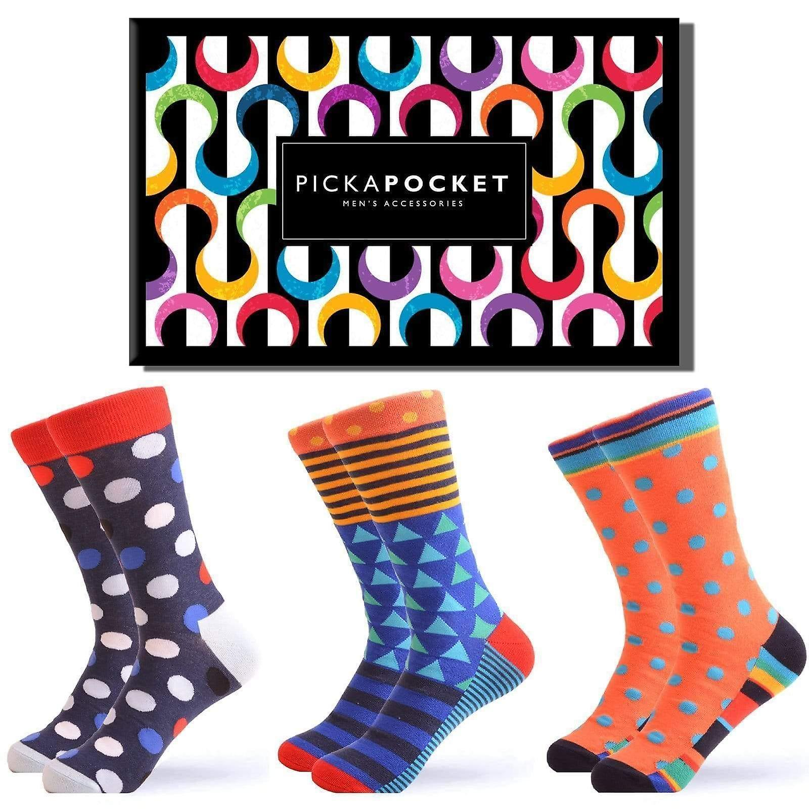 Men's spot geo pattern gift box 3 pairs of socks