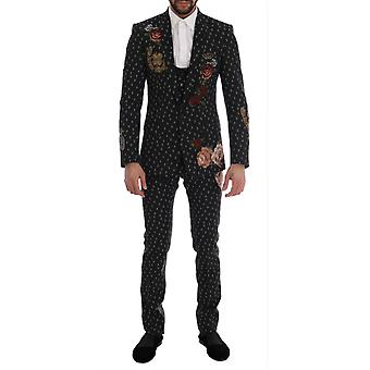 Dolce & Gabbana Black Crystal Roses Martini 3 Piece Suit