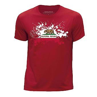 STUFF4 Pojan Pyöreä kaula T-paita / / Kalifornia USA-osavaltion lippu Splat/punainen