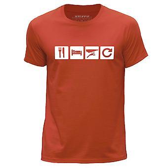 STUFF4 Men's Round Neck T-Shirt/Eat Sleep Glide Repeat/Hang Gliding/Orange