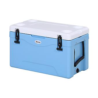 Outsunny 38L Cooler Box Insulated Picnic Ice Chest Camping Food Drink Box w/ Locks Gasket Seal Hot Cold Thick Plastic Festivals Nylong Handles Blue