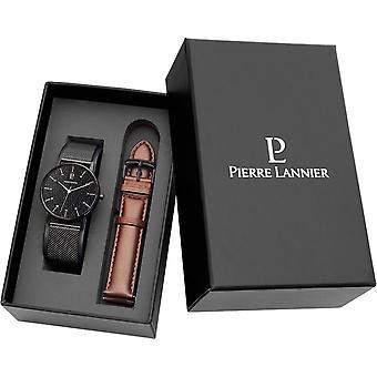 Pierre Lannier 378B 438 - watch box leather and mesh Milanese man Bracelet