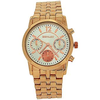 Henley Ladies Chrono Effect Silver Dial Rose Goldtone Bracelet Strap Watch H07252.44