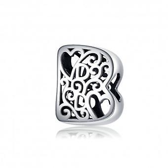 Sterling Silber Alphabet Charm Buchstabe B Mit Herzen - 6256