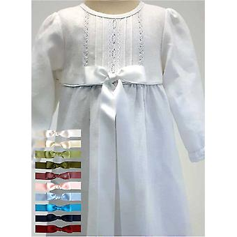 Christening Gown - Grace Of Sweden - White With Long Sleeve In Linen. 10 Bows Options