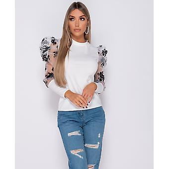 Floral Flock Print Puffed Sleeve High Neck Tops - - White