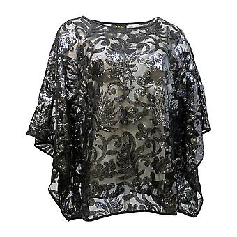 Bob Mackie Women's Top Sequin Floral Caftan Black A283728
