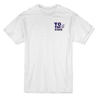À la gauche de la poitrine Disco graphique blanc T-shirt homme