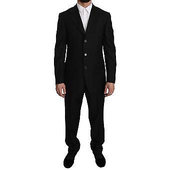 Z ZEGNA Black Striped Two Piece 3 Button Wool Suit -- KOS1830128