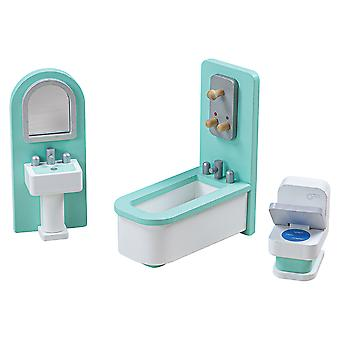 Tidlo Wooden Doll's House Bathroom Furniture Play Set Accessories