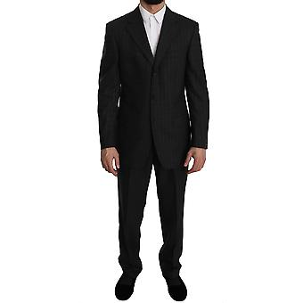 Z Zegna Gray Striped  Two Piece 3 Button Wool Suit KOS1476-48