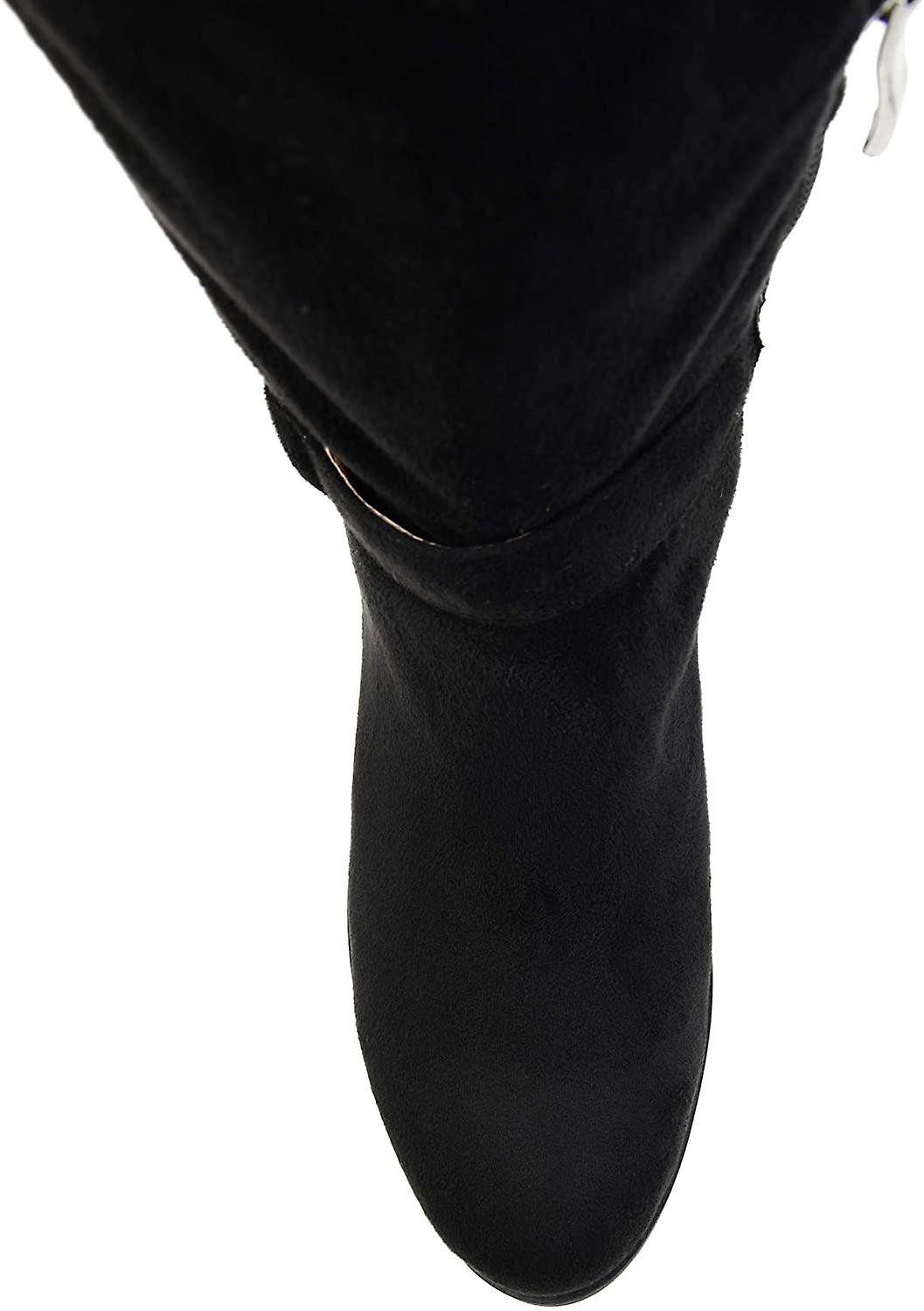 Brinley Co. Comfort Womens Classic Riding Boot Black, 9 Extra Wide Calf US