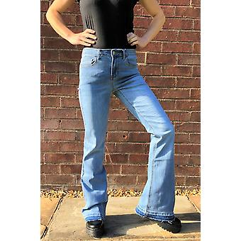 Long Leg Bootcut Stretch Jeans with Frayed Leg Ends