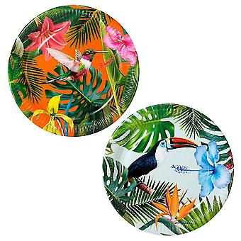 Plaques de papier tropical plantes - Tableware Party x 12
