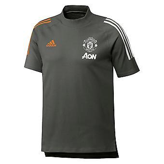 2020-2021 Man Utd Adidas Training Tee (Green) - Kids