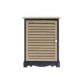 Rebecca Furniture Comodino 1 Anta Drawer Retro Black Wood Grey 58x42x32