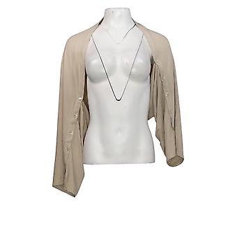 LOGO door Lori Goldstein Women's Sweater Shrug Sleeve Detail Beige A347659