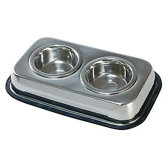 Arquivet Double Stainless Steel Feeder For Cats 2X0, 24L./11Cm
